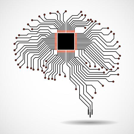 Cerebro tecnológico abstracto. UPC. Placa de circuito. Vector