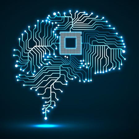 추상 기술 적 열하는 두뇌입니다. Cpu. 회로 기판. 벡터