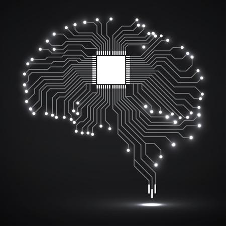 Cerveau brillant technologique abstrait. CPU. Circuit imprimé Vecteur