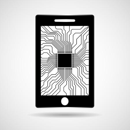 transistor: Smartphone, mobile phone with processor inside. Vector illustration. Illustration