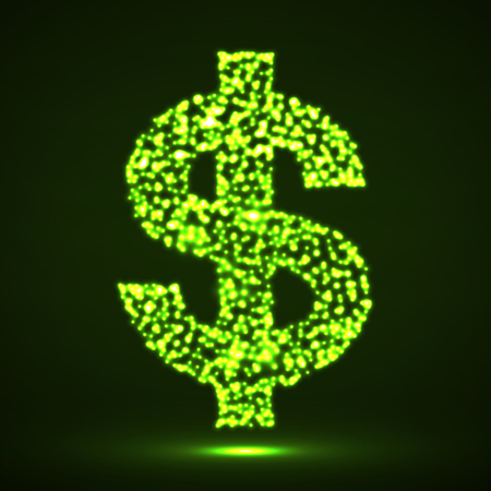 Abstract dollar sing of glowing particles. Vector illustration.