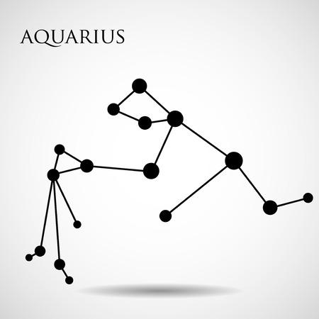Constellation aquarius zodiac sign isolated on white background. Vector illustration. Eps 10 Çizim