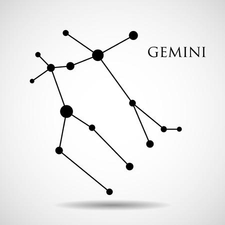 interoperability: Constellation gemini zodiac sign isolated on white background. Vector illustration. Eps 10
