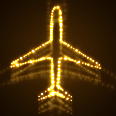 Abstract airplane of glowing dots. Vector illustration. Eps10