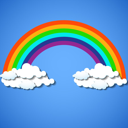 overcast: Abstract colorful rainbow with clouds. Vector illustration. Eps 10