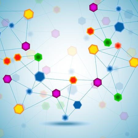 Abstract hexagonal molecular structure of DNA. Vector Illustration