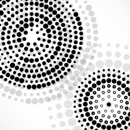 Sfondo astratto con cerchi tratteggiate sovrapposti in carta circolare. sfondo vettoriale design