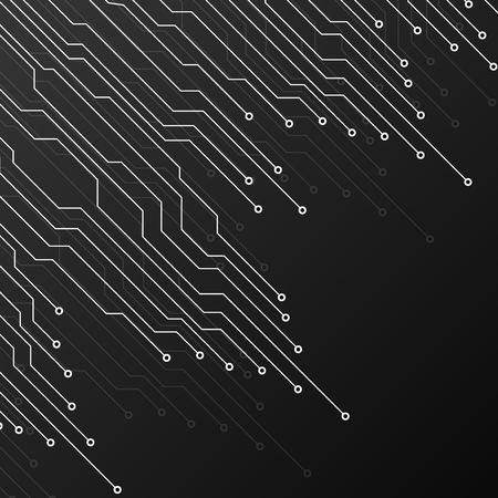 Circuit board on black background. Abstract technology Vector Illustration