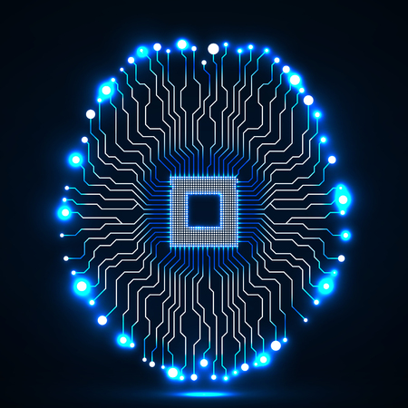 electronic background: Neon brain. Cpu. Circuit board. Abstract technology background