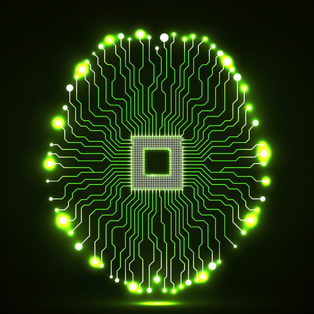 Neon brain. Cpu. Circuit board. Abstract technology background