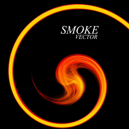 Abstract colorful smoke by spiral isolated on black background. Vector