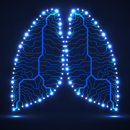 Abstract human lung, technology background.