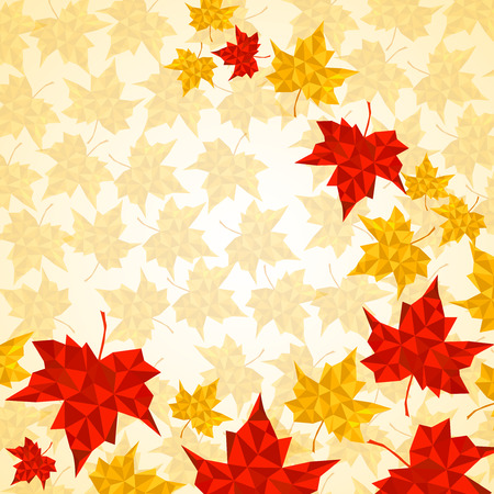 Maple leaves in triangular style. Illustration