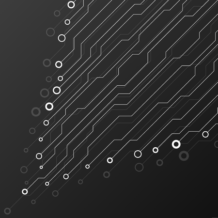 Circuit board on black background. Abstract technology