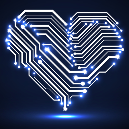 Abstract neon circuit board in shape heart, technology background.