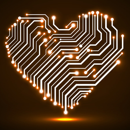 processors: Abstract neon circuit board in shape heart, technology background