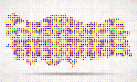 Abstract map of Turkey, colorful pixels. Vector Stock Illustratie