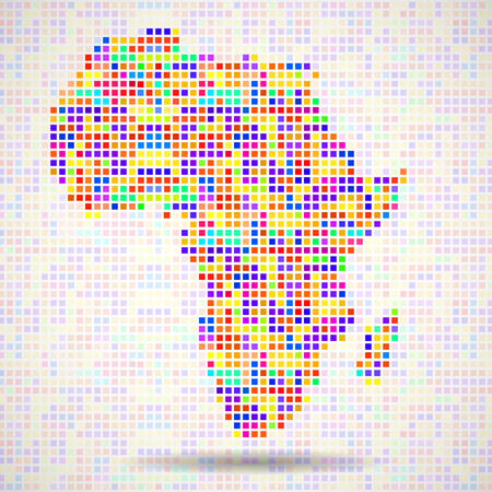 Abstract map of Africa, colorful pixels. Vector