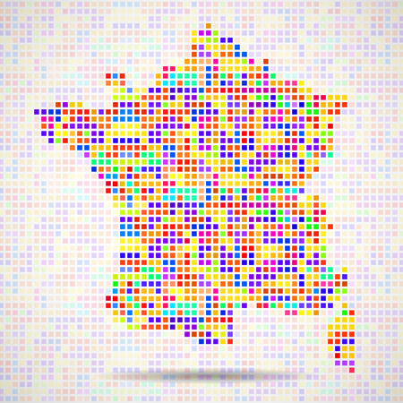 Abstract map of France, colorful pixels. Vector