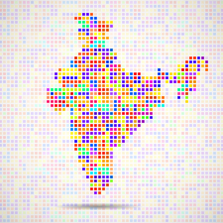 Abstract map of India, colorful pixels. Vector