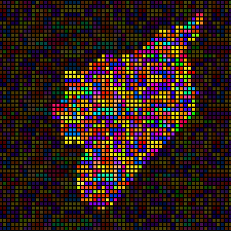 Abstract map of Syria, colorful pixels. Vector