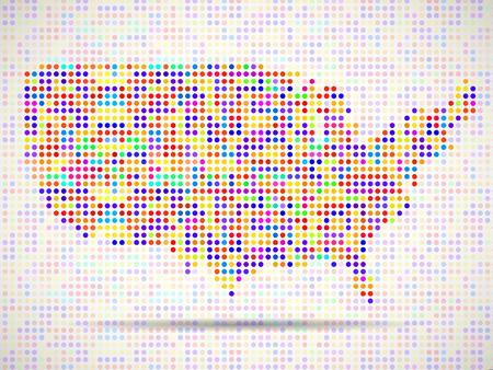 Abstrakte Karte von USA, bunte Punkte. Vektor-Illustration. Eps 10