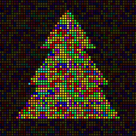 Abstrakter bunter Weihnachtsbaum von Pixeln. Vektor-Illustration. Eps 10