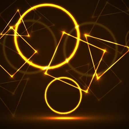 Abstrakter Hintergrund von glühenden geometrischen Formen. Vektor-Design