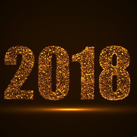Happy New Year 2018 text design with glowing particles, vector illustration eps 10