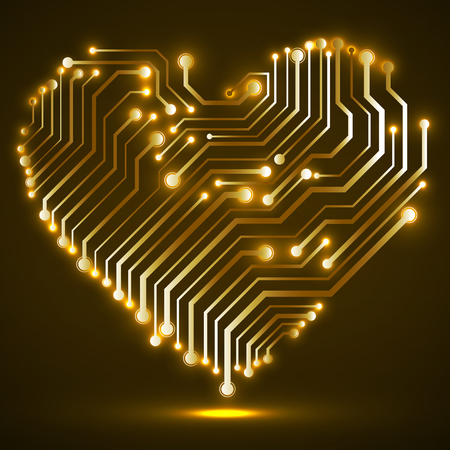 Abstract neon circuit board in shape heart, technology background