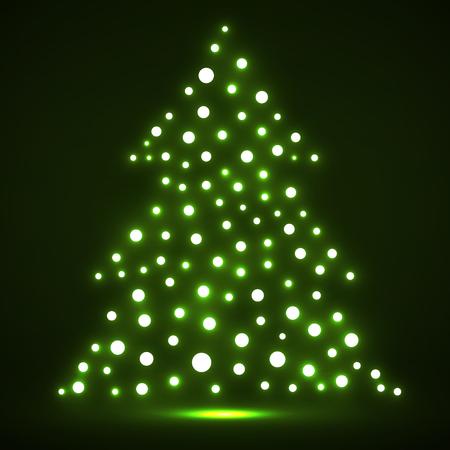 Abstrakter Weihnachtsbaum von glühenden Punkten. Vektor
