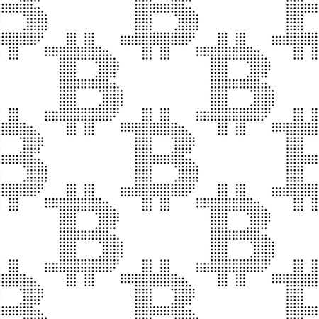 Seamless pattern with sign bitcoin of dots Illustration