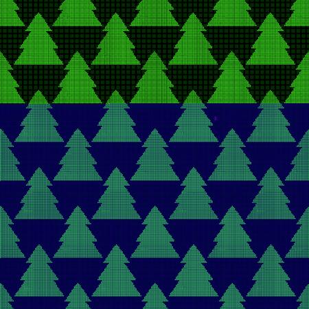Nahtloses Muster des Pixels mit bunten Weihnachtsbäumen von Pixeln Illustration