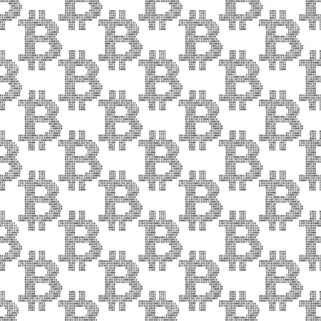 Seamless pattern with signes bitcoin from binary code