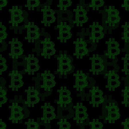 Nahtloses Muster mit Signes Bitcoin aus Binärcode
