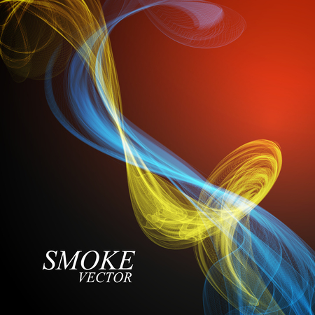 Abstract colorful smoke isolated on blue background. Vector Illustration