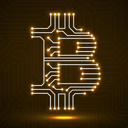 Abstraktes Neonzeichen Bitcoin von der Leiterplatte Illustration