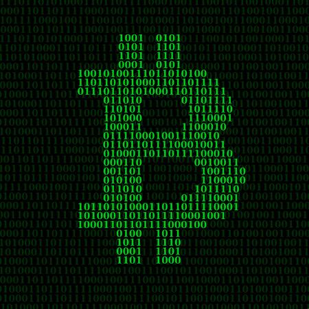Abstraktes Zeichen bitcoin des binären Codes. Vektor