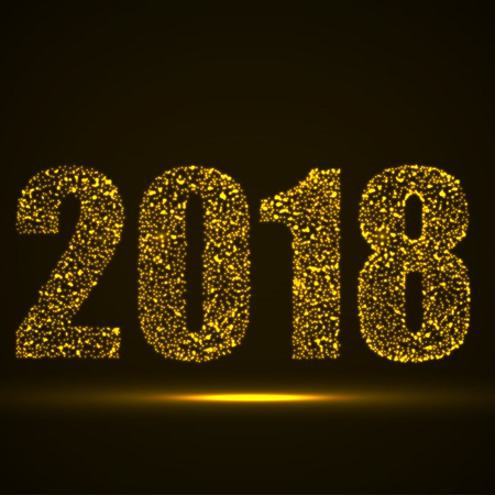 Happy New Year 2018 text design with glowing particles