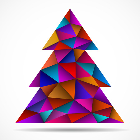Abstract colorful christmas tree from triangles. Vector