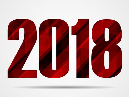 Textdesign des guten Rutsch ins Neue Jahr-2018, geometrische Fahne des Vektors