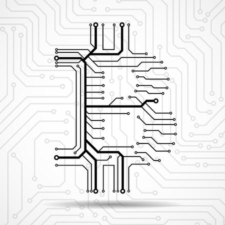 Abstraktes Zeichen bitcoin von der Leiterplatte. Vektor