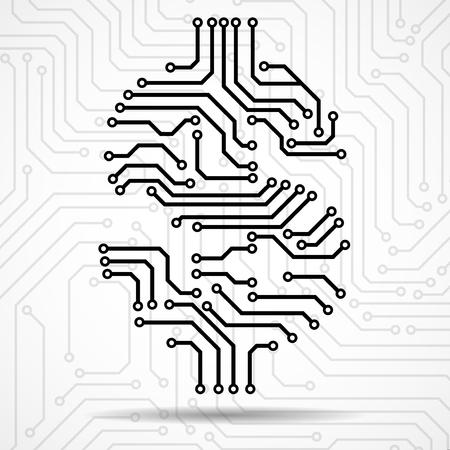 Abstract symbol dollar of circuit board. Vector