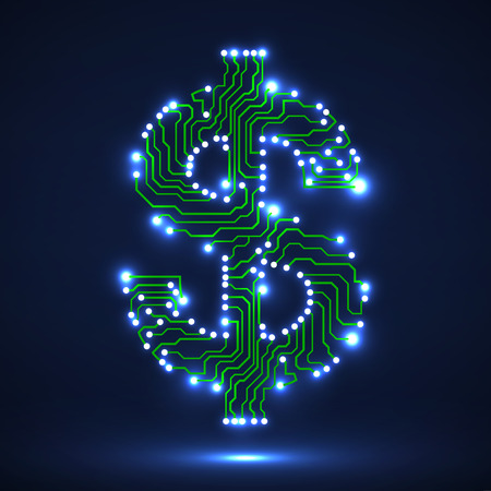 Abstract neon symbol of dollar with circuit board