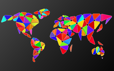 Abstract world map in geometric polygonal style. Colorful vector illustration