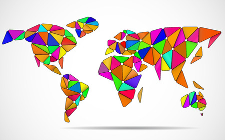 Abstract world map in geometric polygonal style. Illustration
