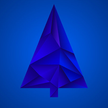 Abstract colorful christmas tree from triangles. Geometric style Illustration