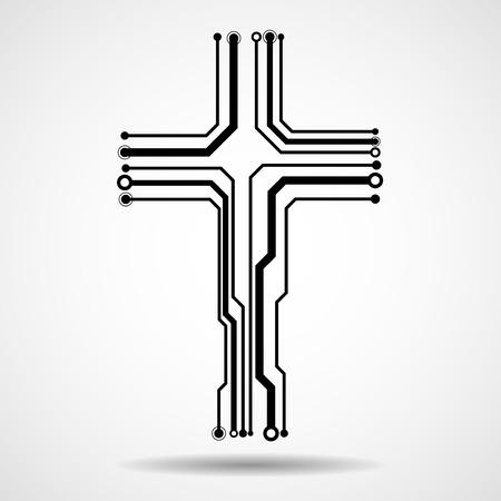 추상 전자 회로 보드 크로스 모양, 기독교 기호 그림.