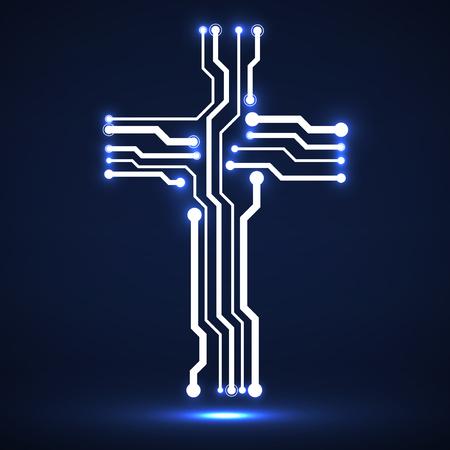 Abstract neon electronic circuit board in shape cross. Christian symbol Çizim