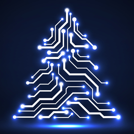 Abstract technology Christmas tree, circuit board, vector illustration.